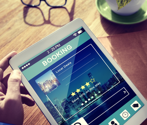 Hotel Booking On Tablet